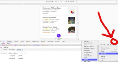 Cambiar la ubicación en Chrome para la búsqueda local.
