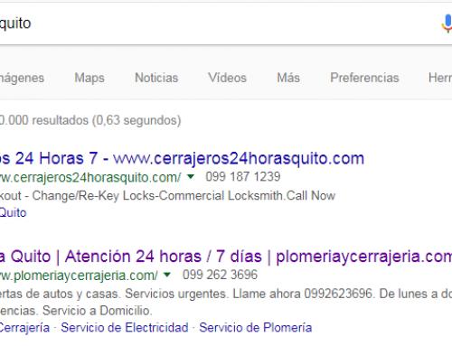 Resultados locales de trabajos de maestros en Google Ecuador