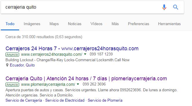 Publicidad para cerrajerías en Google Ecuador.