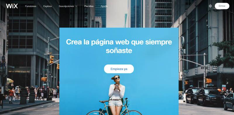 Página de inicio de Wix.
