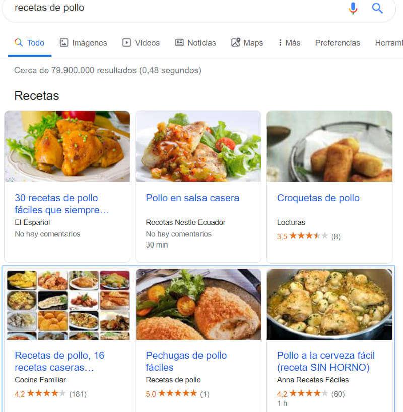 Recetas en los resultados de búsqueda de Google.