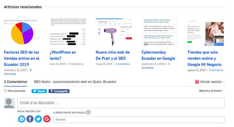 Artículos relacionados y Disqus pueden frenar un sitio de Wordpress.