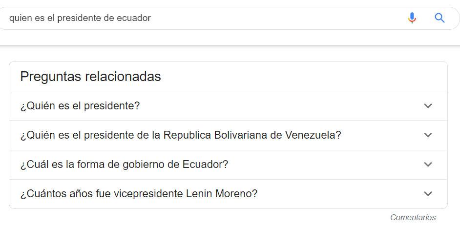 Preguntas relacionadas en Google.